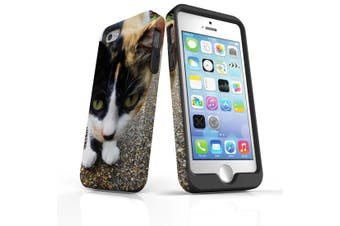 For iPhone SE/5s/5 Case Armoured Tough Cover,Curious Cat