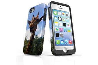 For iPhone SE/5s/5 Case Armoured Tough Cover,Curious Giraffe