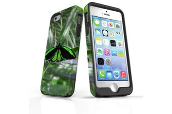 For iPhone SE/5s/5 Case Armoured Tough Cover,Green Butterfly