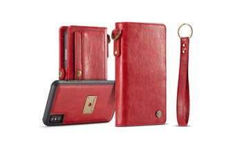 For iPhone XS Max Case Red Wallet Leather Folio Cover,Card Slots,Cash Pocket
