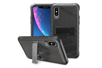Black Honeycomb For iPhone XR Case,Armour Phone Cover,KickStand