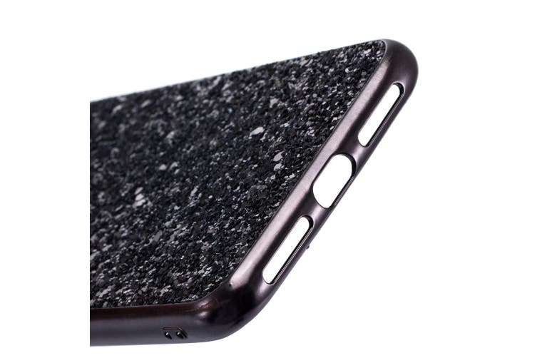 For iPhone XR Case Black Glitter Powder Protective Cover,Flexible Body