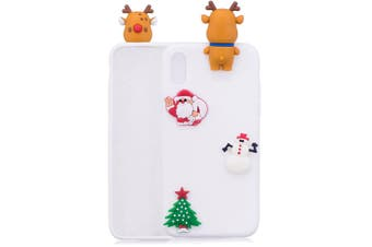 For iPhone XR Case,White 3D Paster Elk Pattern Protective Cover