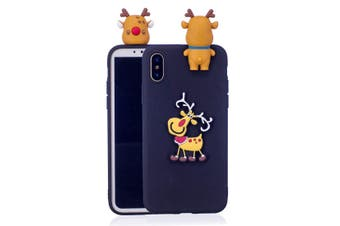 For iPhone XR Case,Black 3D Paster Elk Pattern Protective Cover