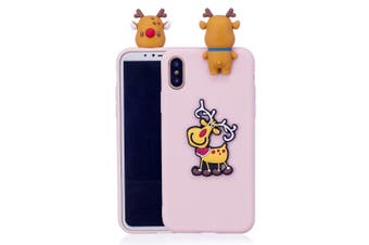 For iPhone XR Case,Pink 3D Paster Elk Pattern Protective Cover