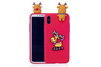 For iPhone XR Case,Red 3D Pink Paster Elk Pattern Protective Cover