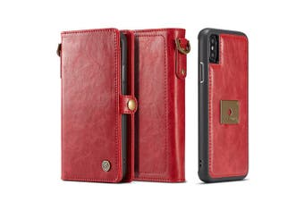 For iPhone XR Case,Red Detachable Folio Leather Case,6 Card Slots