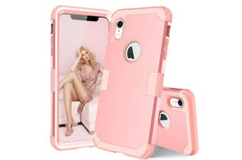 For iPhone XR Case Rose Gold Dropproof PC,Silicone Protective Back Cover