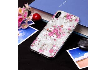 For iPhone XR Case Rose Flower Pattern TPU Protective Back Cover,Grippy Texture