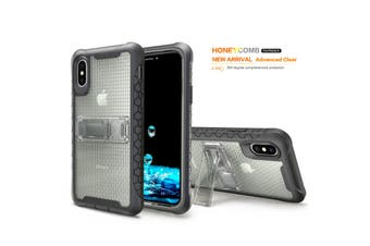 Grey Honeycomb For iPhone XS,X Case,Armour Phone Cover,KickStand