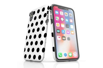For iPhone XS & X Protective Case Unique Phone Cover, Black Polka Dots