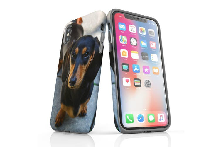 For iPhone XS/X Case Armoured Tough Cover,Black & Tan Dachshund