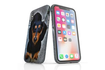 For iPhone XS/X Case Armoured Tough Cover,Black Tan Dachshund Portrait