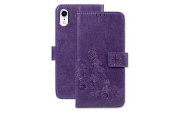 For iPhone XR Case Puple Embossed PU Leather, TPU Wallet Cover 2 Card Slots