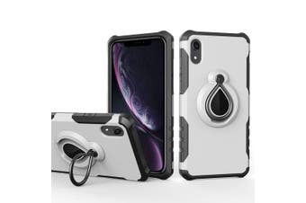 Dropproof Armour Back Cover Case Raindrop Shape Ring Holder For iPhone XR,Silver