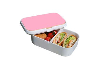 Lunch Box Food Container Snack Picnic Authentic Wood Strap Cutlery Pink