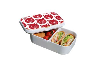 Lunch Box Food Container Snack Picnic Authentic Wood Strap Cutlery Red Cats