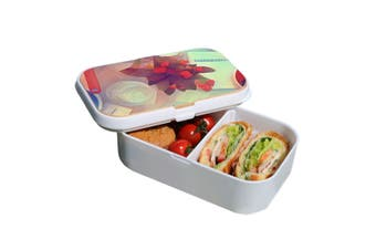 Lunch Box Food Container Snack Picnic Authentic Wood Strap Cutlery Retro Start