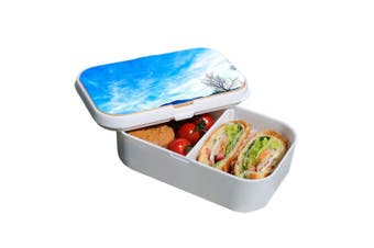 Lunch Box Food Container Snack Picnic Authentic Wood Strap Cutlery Tranquil