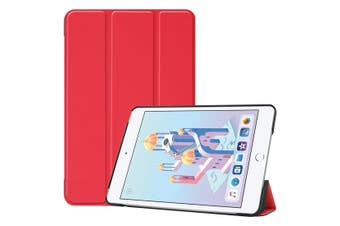 For iPad mini 5 (2019) Case Red Karst Texture Smart PU Leather Folio Cover