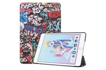 For iPad mini 5 2019 Case,Karst Texture Folio PU Leather Smart Cover,Graffiti