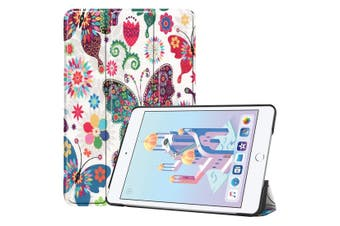 For iPad mini 5 2019 Case,Karst Texture Folio PU Leather Smart Cover,Butterfly