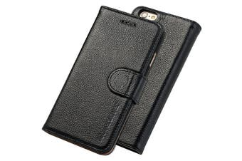 For iPhone 6S,6 Cover,iCoverLover Genuine Cow Leather Wallet Case,Black