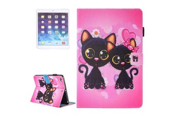 For iPad 2018,2017 9.7in Wallet Case,Colorful Cat Couple Leather Cover