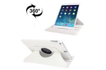 For iPad 2018,2017 9.7in Case,Rotatable Lychee Leather Shielding Cover,White