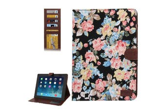 For iPad 2/3/4 Wallet Case Modern Peony Leather Durable Shielding Cover Black
