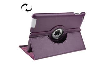 For iPad 2/3/4 Case Smart Function Rotatable Shielding Leather Cover Purple