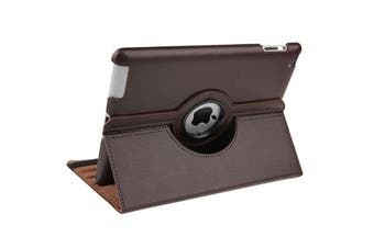 For iPad 2/3/4 Case,Smart Function Rotatable Shielding Leather Cover,Brown