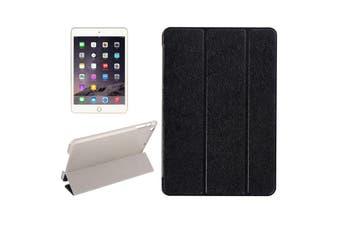 For iPad Mini 4 Case,Modern Silk Textured 3-fold Leather Folio Cover,Black