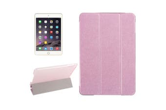 For iPad Mini 4 Case Modern Silk Textured 3-fold Leather Folio Cover Pink