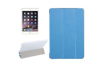 For iPad Mini 4 Case,Modern Silk Textured 3-fold Leather Folio Cover,Blue