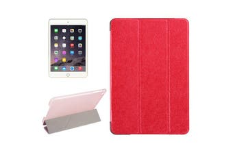 For iPad Mini 4 Case Modern Silk Textured 3-fold Leather Folio Cover Red