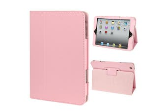 For iPad Mini 1,2,3 Case, Lychee Texture 2-fold Folio Leather Cover,Pink