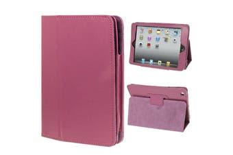 For iPad Mini 1,2,3 Case, Lychee 2-Fold Folio Leather Cover,Purple