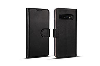 For Samsung Galaxy S10 PLUS Case, Black Cowhide Genuine Leather Wallet Cover