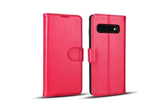For Samsung Galaxy S10 PLUS Case, Pink Cowhide Genuine Leather Wallet Cover