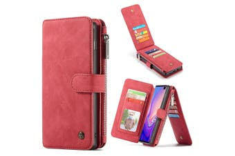 For Samsung Galaxy S10+ Plus Case, Red Leather Wallet Cover with 14 Card Slots