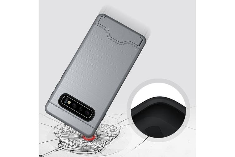 For Samsung Galaxy S10 Case Silver Slim TPU+PC Brushed Shockproof Cover