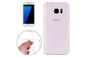 For Samsung Galaxy S7 EDGE Case Modern Transparent Grippy Shielding Cover Purple