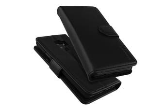 For Samsung Galaxy S9 PLUS Wallet Case iCoverLover Real Cow Leather Black