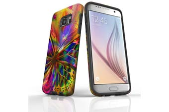For Samsung Galaxy S7 Edge Case  Armour Tough Cover  Psychedelic Butterflies