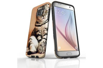 For Samsung Galaxy S7 Edge Case  Armour Tough Cover  Sitting Cat