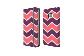 For Samsung Galaxy S8 Case Wallet Protective Cover Zigzag Pink Purple