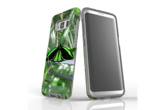 For Samsung Galaxy S8 Case Armour Cover, Green Butterfly