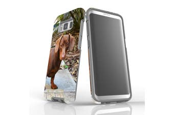 For Samsung Galaxy S8 Case Armour Cover, Tan Daschund