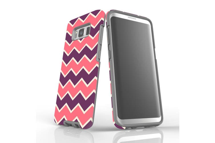 For Samsung Galaxy S8 Protective Case, Zigzag Pink Purple